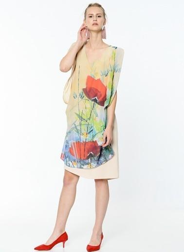 Çiçek Desenli Şifon Elbise-Soie Design